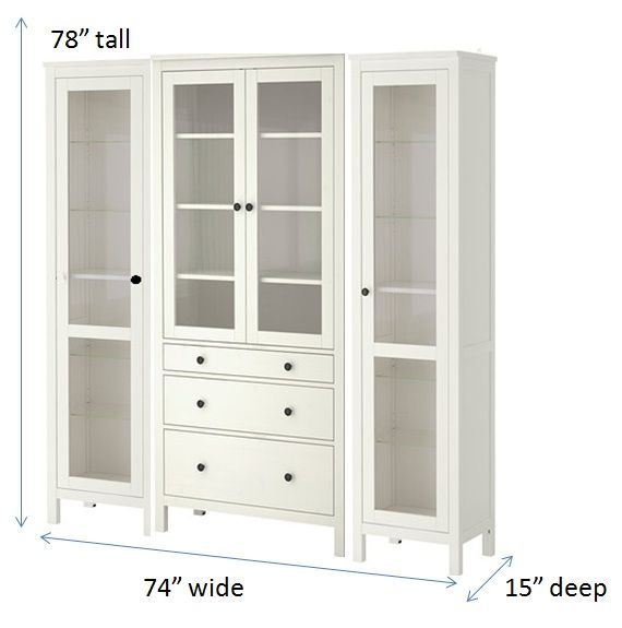 ikea hemnes cabinets built in looking china cabinet some trim and new hardware possibly paint should do the trick nicely and give the dining room a true. Interior Design Ideas. Home Design Ideas
