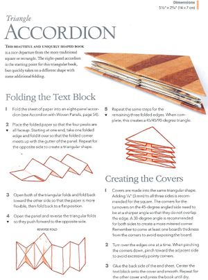 """Triangle Accordion Book tutorial from"""" Creating Books & Boxes: Fun and Unique Approaches to Handmade Structures"""" by Benjamin D. Rinehart"""