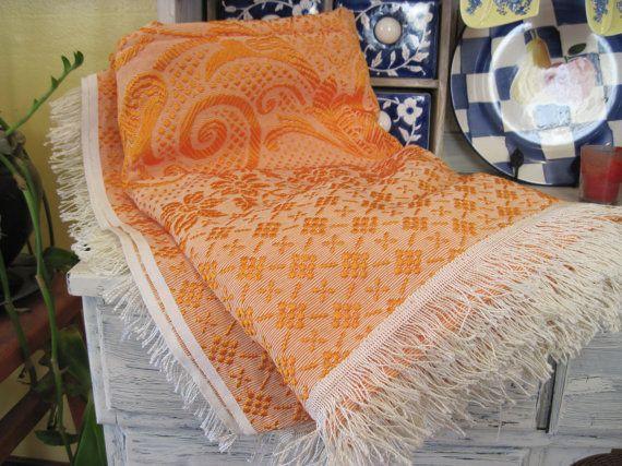 Vintage coral color floral pattern bedding sheet, cotton blend coral bed cover, coral color floral flat sheet, coral color sofa cover sheet by HTArtcraftAndVintage, $38.75