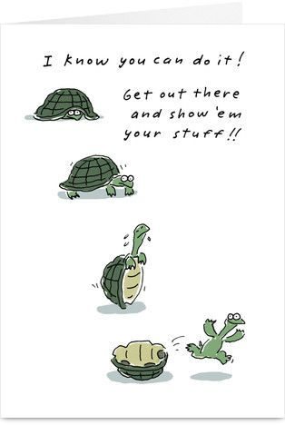 Turtle Encouragement Good Luck. For James for his internship!
