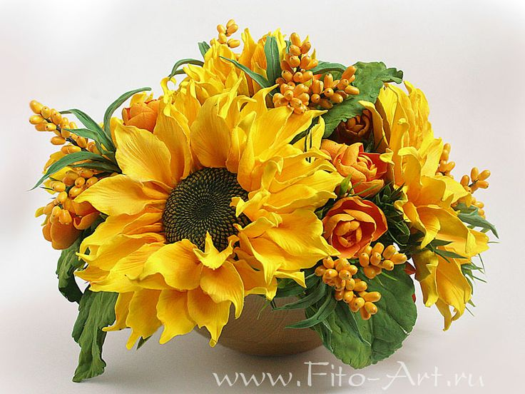 Sunny bouquet of sunflowers and berries of sea buckthorn - Fito-Art.ru