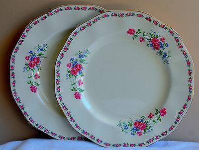 2-VINTAGE-CIRCA-1938-WEDGWOOD-HARMONY-ROSE-DINNER-PLATES