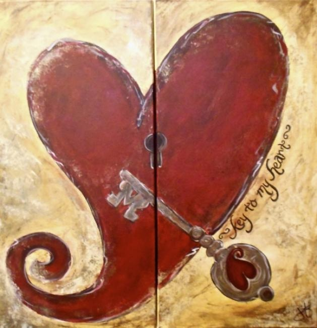 One Heart Done On Two Canvases Easy PaintingsCanvas Art Couple