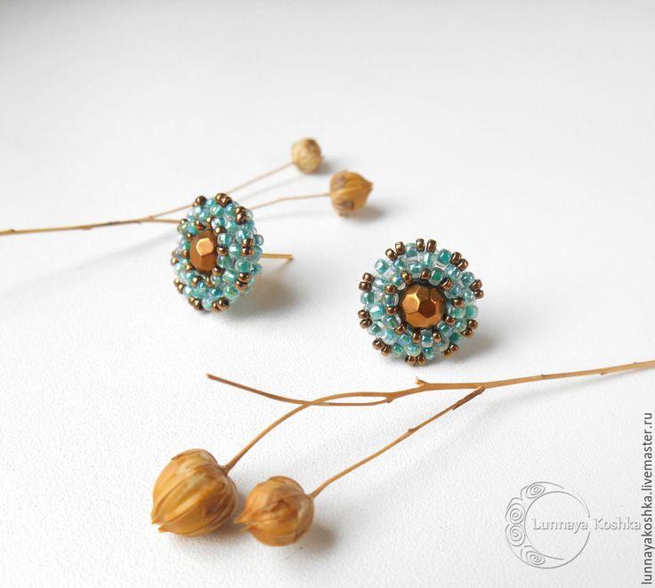 Купить Маленькие серьги-пусеты Восточная красавица - бирюзовый, бронзовый, серьги, серьги из бисера
