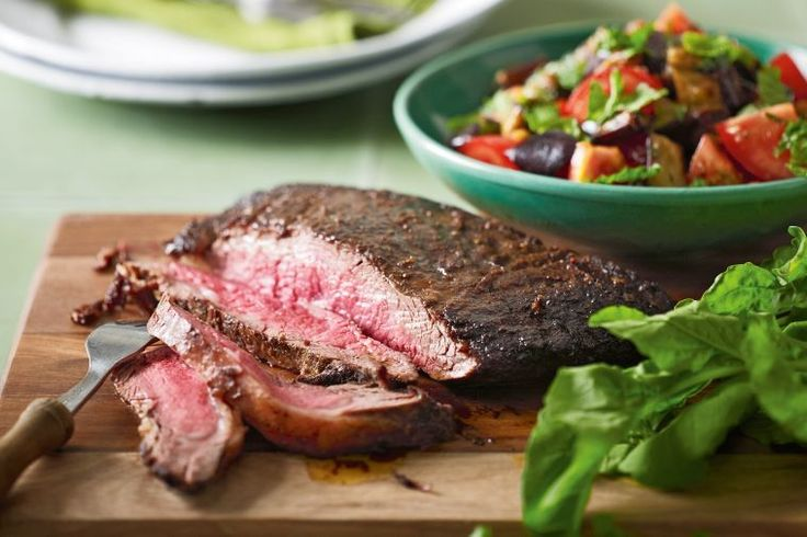 Moroccan steak with eggplant and tomato salad