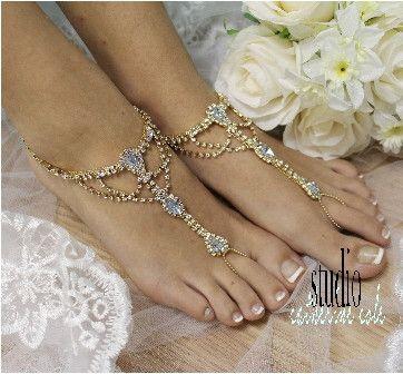 Barefoot sandals, Something Blue, rhinestone, jewelry, bridal, beach, bridal, gold   SJ4