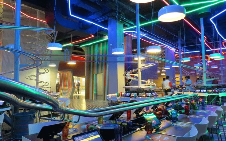 Roller Coaster Restaurant - watch VIDEO in the link | the one in this video is Schwerelos & Zeitlos in Hamburg, Germany | there are multiple locations in Europe & the Middle East: http://www.rollercoasterrestaurant.com/de/standorte/