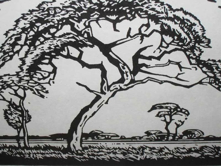 A black and white woodcut by Pierneef