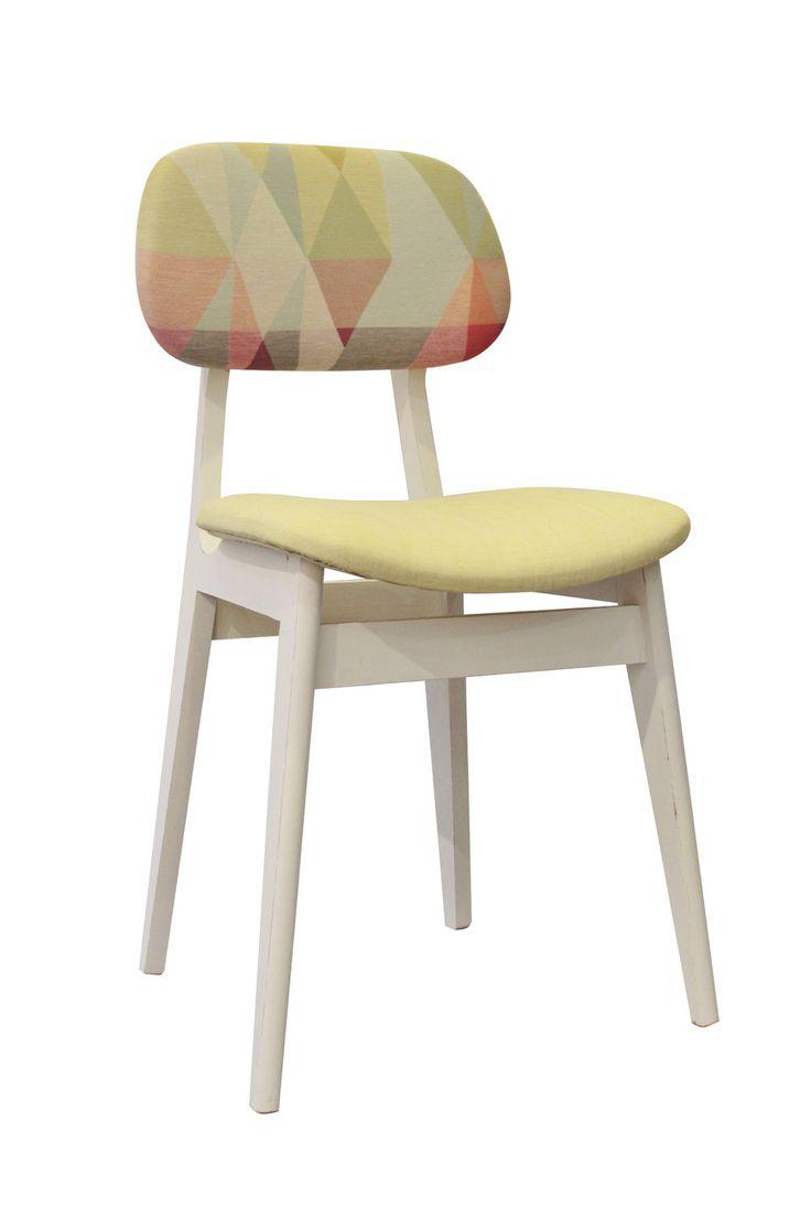 Chaise en bois et tissu pastel : Meubles et rangements par peau-d-anne