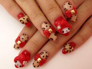Kawaii My Melody Nails Cheetah
