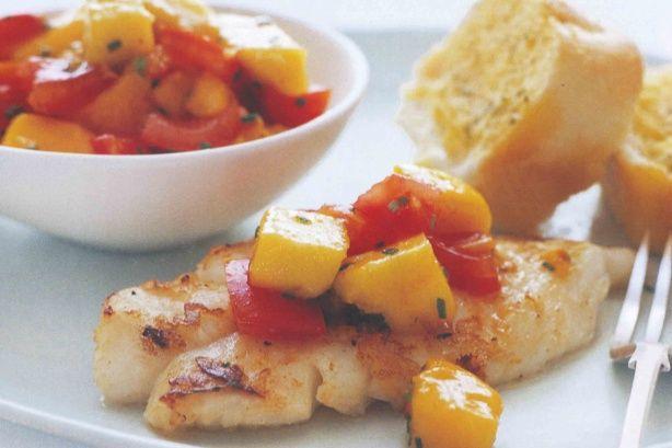 Fish with tomato mango salsa