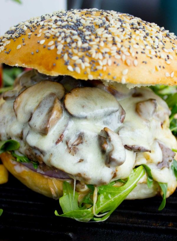 Mushroom Swiss Cheese Burger - A mouthwatering mushroom swiss cheese burger recipe that is juicy and packed with flavor