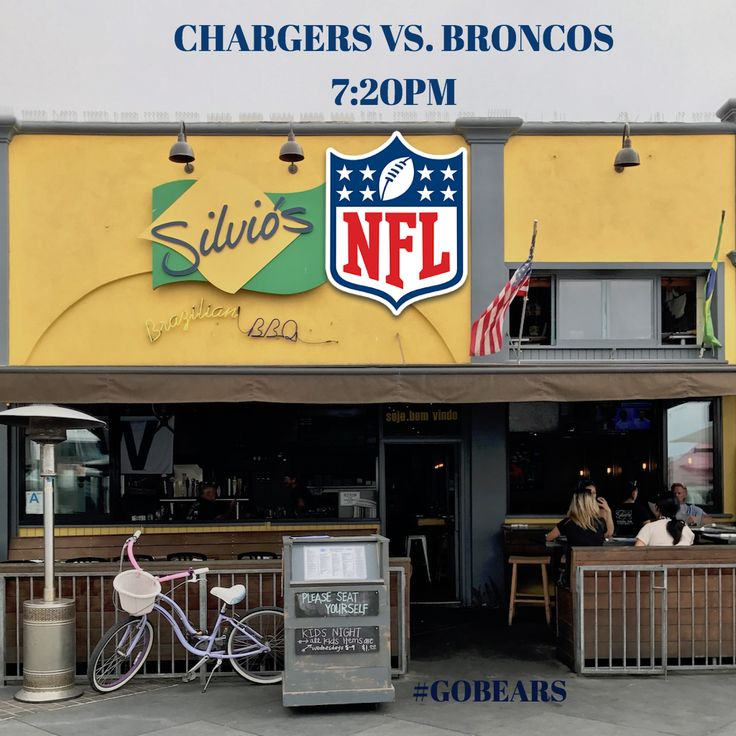 Looking for a #GreatSportsBar to watch all the action tonight? We are showing the #MNF #Charger vs. #Broncos at 7:20. Come get #SilviosBBQ