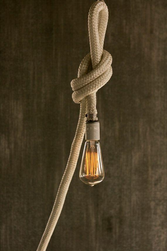 Pendant Light Chandelier Lighting Rope Light Cage by LukeLampCo, $118.00
