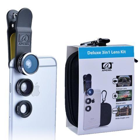 Apexel Mobile Phone Lens Fisheye Lens 15X Macro 3 in 1 Lens Kit Fish Eye Lens…
