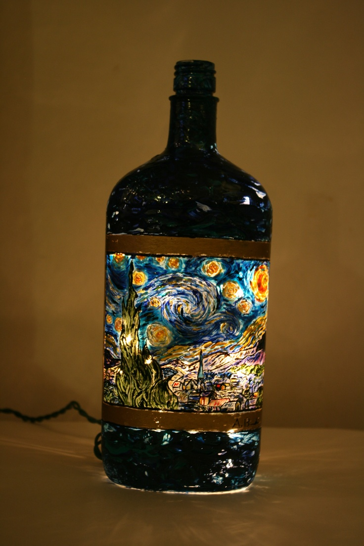 17 best images about starry night by vincent van gogh van gogh starry night on recycled bottle hand painted and made into a lamp or