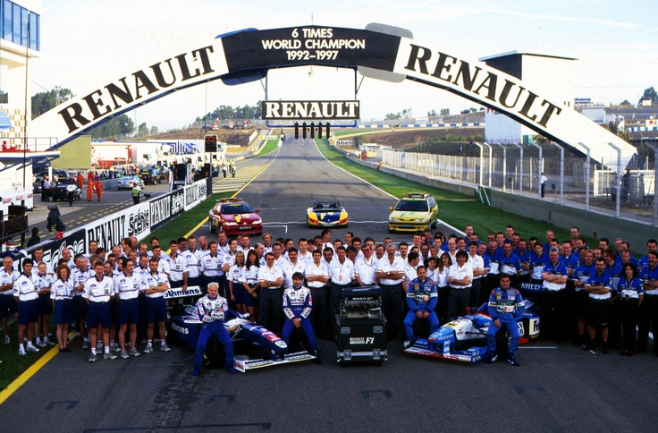 Renault celebrate becoming 6 times F1 World Champions in 1997, after Williams was named Constructors Champion