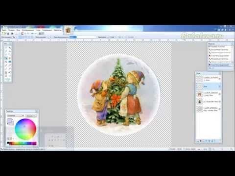 Создаем снежный вырез с помощью эффекта Градиент по окружности в Paint.net - YouTube