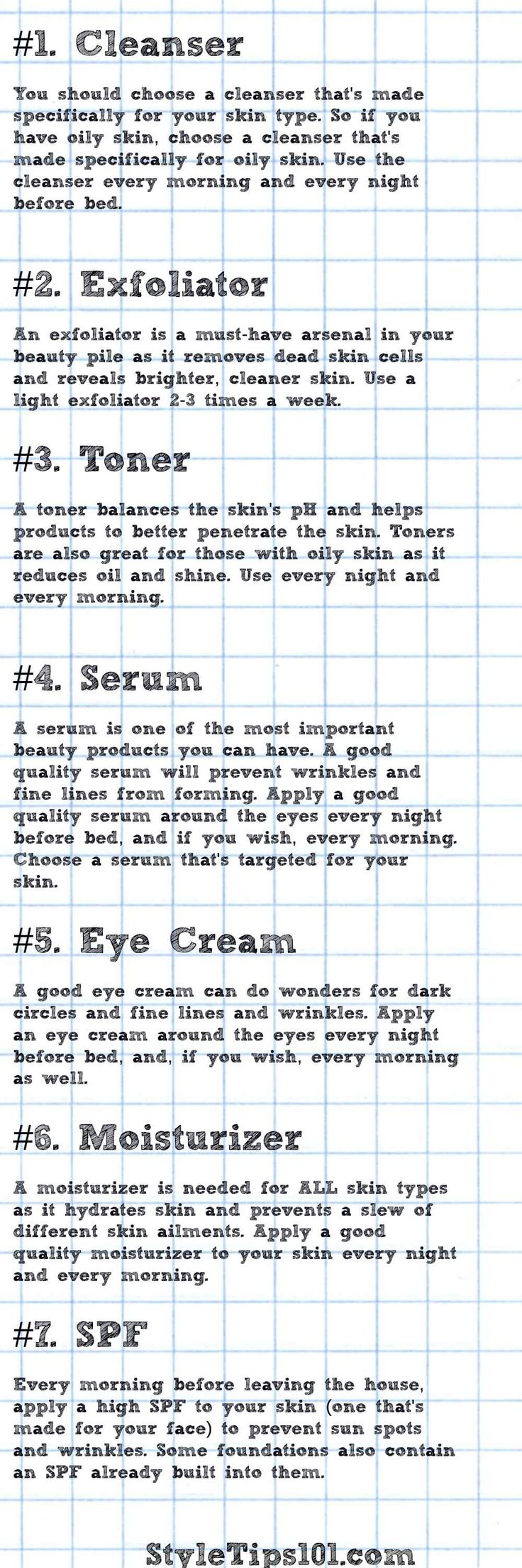 Not sure which order your skin care products go in? Print this picture and use it as a guide! via @styletips1o1