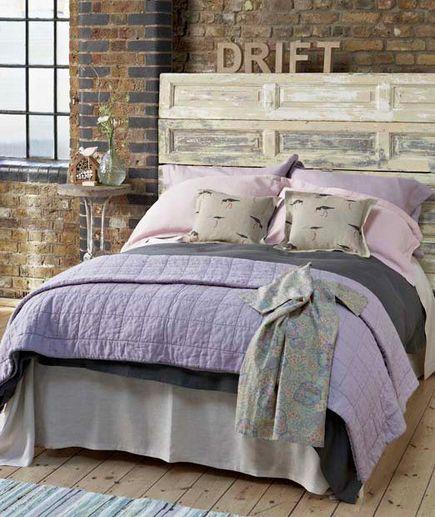 Comforter rustic bedrooms design room headboards bricks wall bedrooms