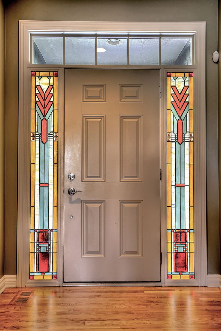 Prairie Style Stained Glass Sidelights - Painted Light Stained Glass