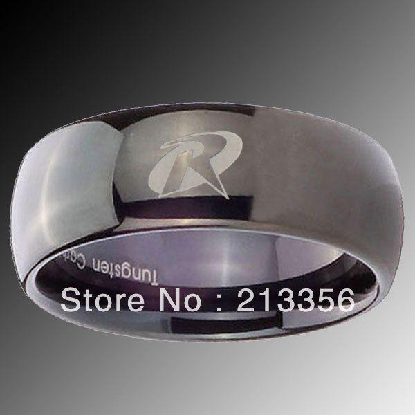 США Горячий Продавать 8 ММ Вольфрам Купол Черный Робин Дизайн Кольца мужская Super Cool Группа Бесплатная Доставка США Размер 6-14 Доступны