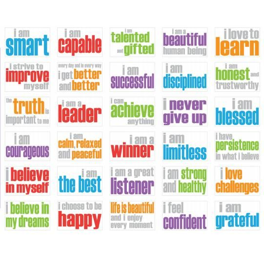 Positive Affirmations for Kids. I want to put these on business cards and let the kids pick the ones that apply to them.