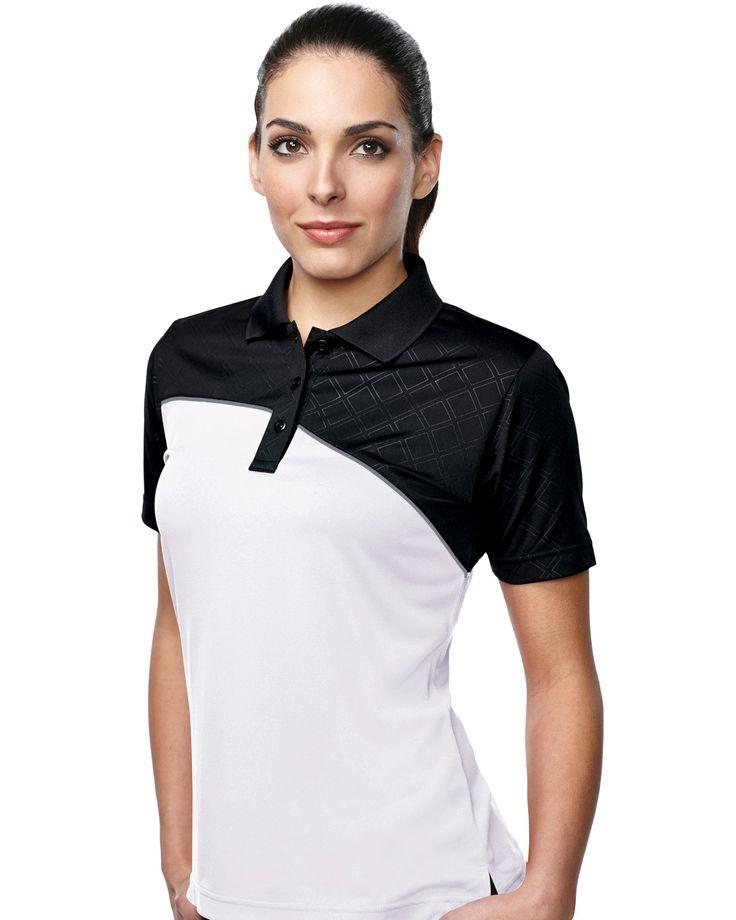 Women's S/S Golf Shirt Tri mountain KL147 #GolfShirt  #blackandwhite