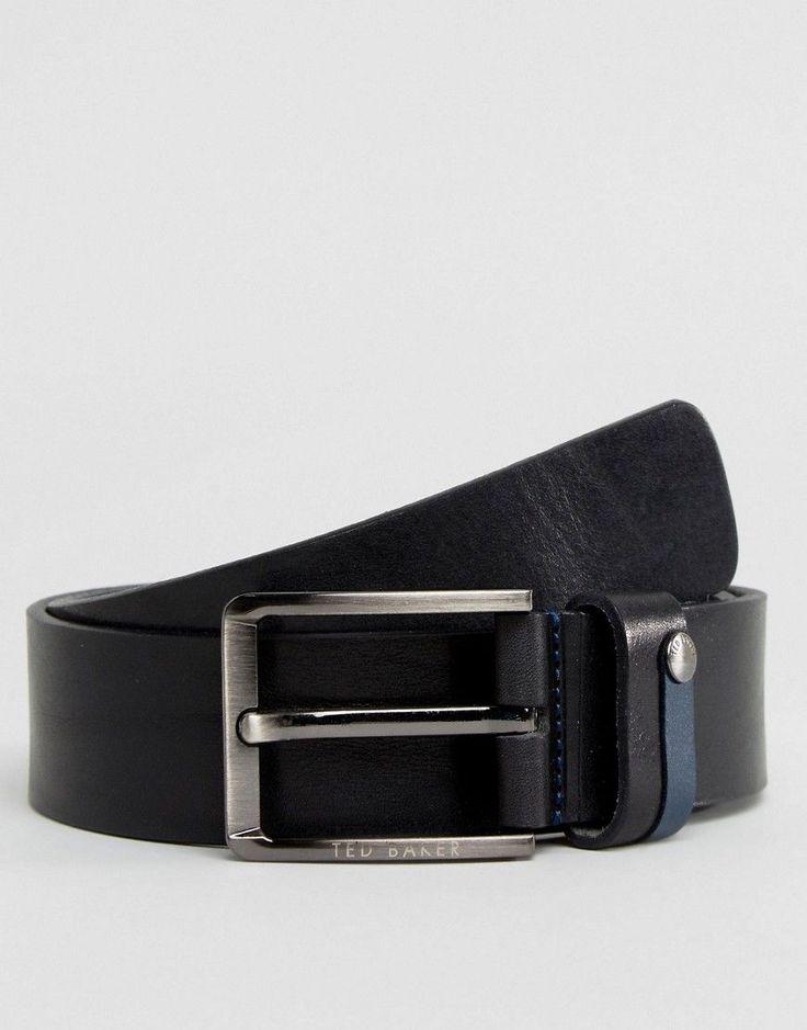 Ted Baker Keepsak Belt in Leather with Contrast Keeper - Black