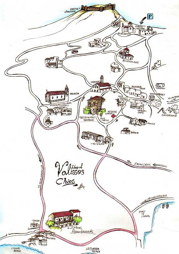 A lovely map of the area of Volissos by chioszorbas.gr