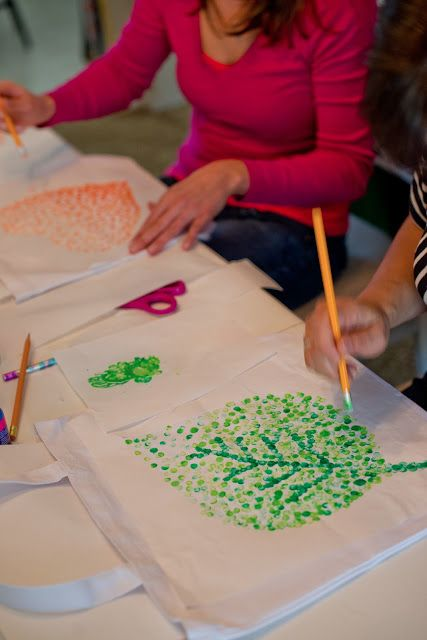 heart or leaves In fall colors: DIY Eraser Stamped Tote Bag Tutorial