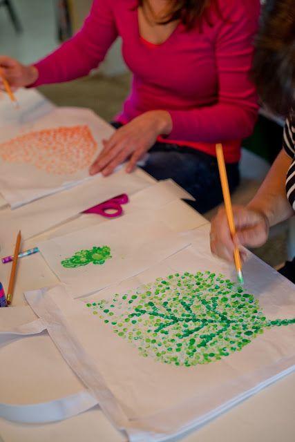 heart or leaves In fall colors: DIY Eraser Stamped Tote Bag Tutorial