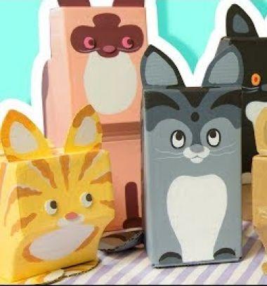 DIY cardboard cats - fun home decor from cardboard boxes // Karton doboz cicák - kreatív ötlet gyerekeknek dobozokból // Mindy - craft tutorial collection // #crafts #DIY #craftTutorial #tutorial #Upcycling #RecyclingCraft #UpcyclingCraft #PaperCraft #KreatívÚjrahasznosítás