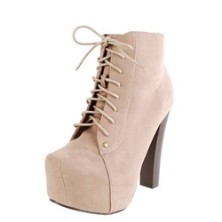 Chunky Wooden Heel Ankle Boots TAUPE