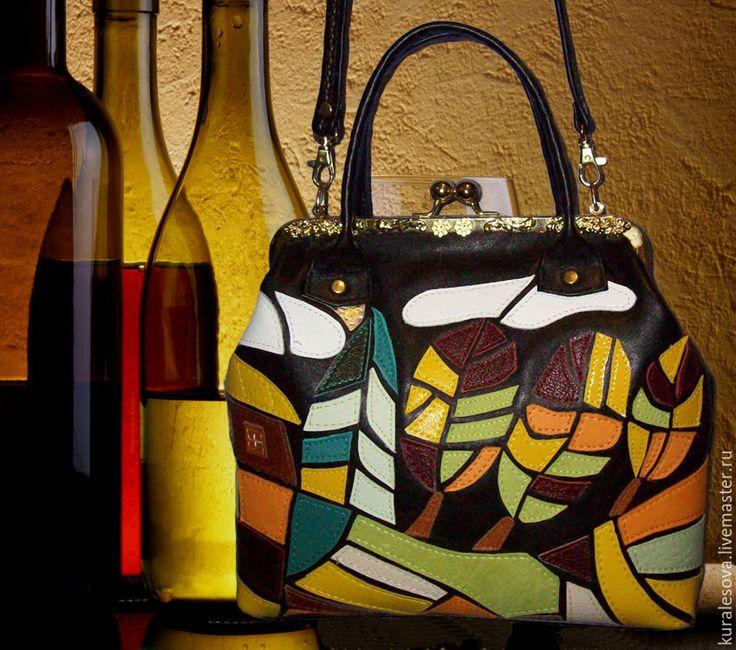 """Купить Кожаная сумка """"Витражи"""" - черный, женская сумка, handmade куплю хзнд мэйд, handbag"""