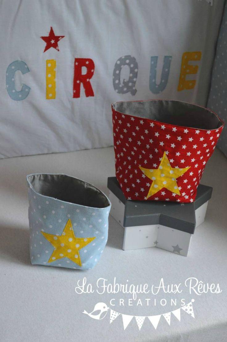 pochons panières rangement cirque étoiles rouge jaune bleu gris