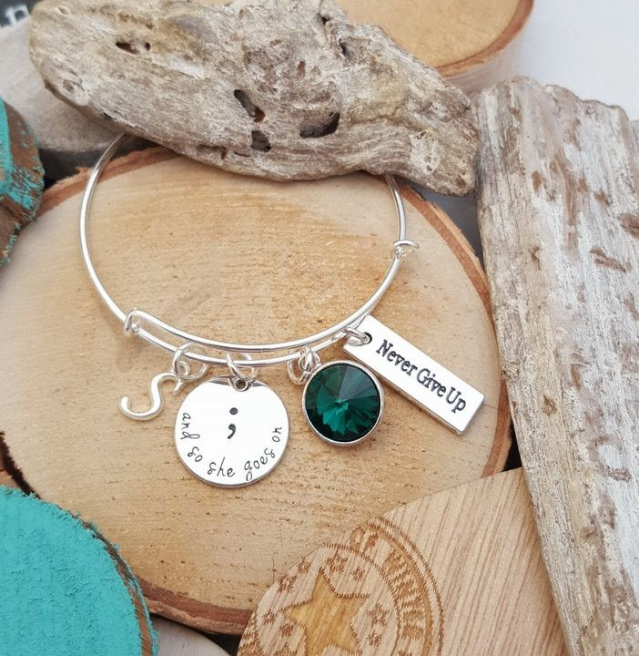 FN Gift For Daughter Mother Sister Aunt And So She Goes On Semicolon Bracelet