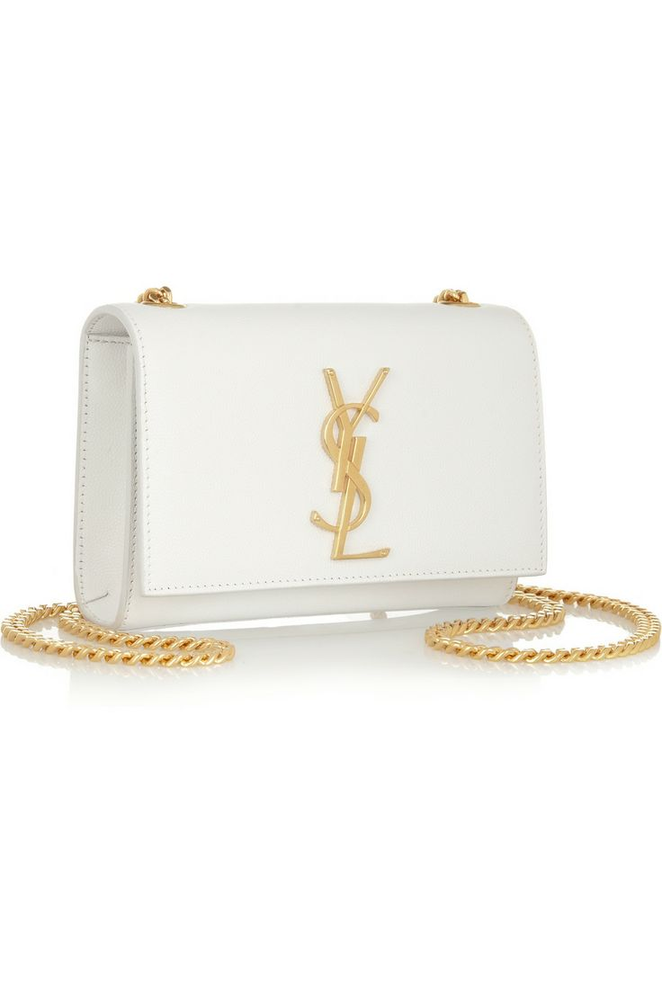 Saint Laurent Monogramme Textured-Leather Shoulder Bag. (Gold ...