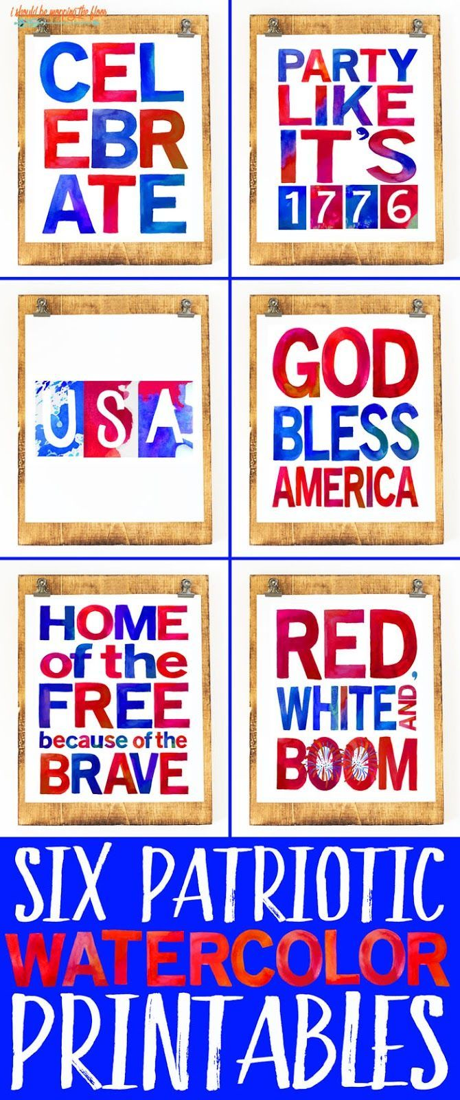 """These SIX 8x10"""" Patriotic Printables are made up of fun watercolor letters and scream summertime! Party like it's 1776, y'all!"""