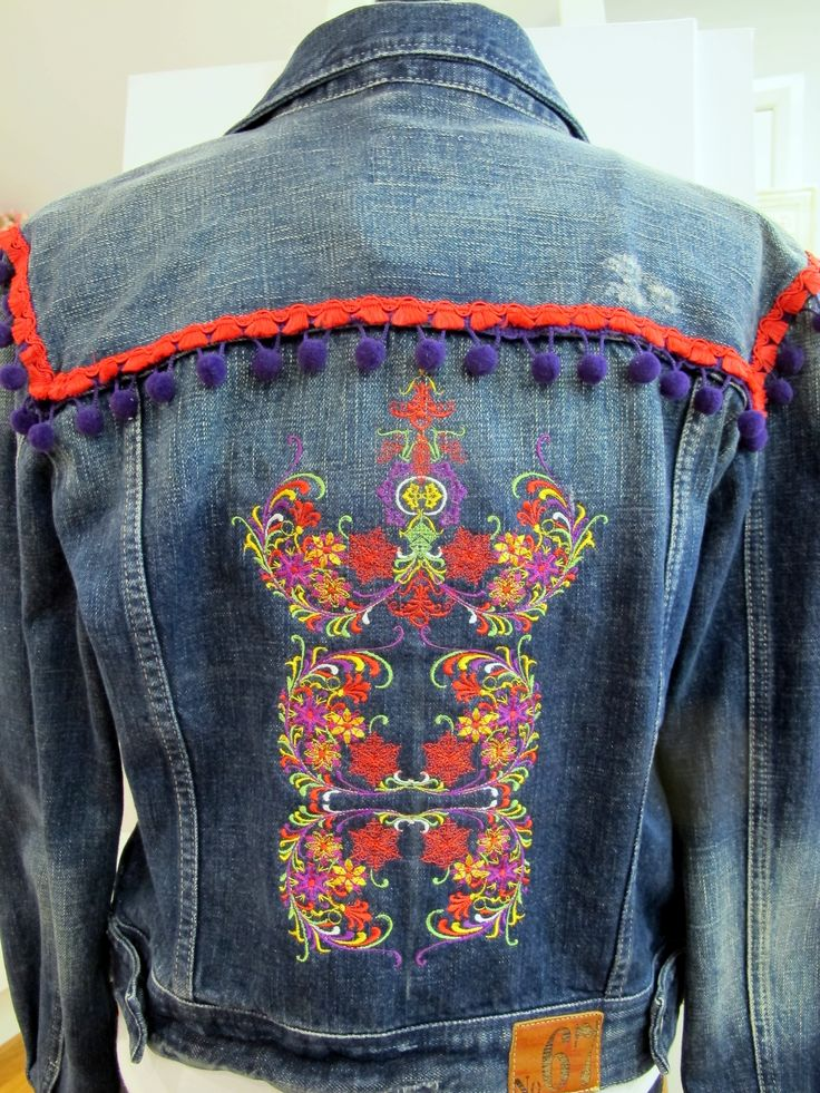 Machine embroidery Jean jacket. The design set is called Nordic Delight. You can see this on  http://www.stitchingart.com/shop/all-machine-embroidery-designs/nordic-delight-detail
