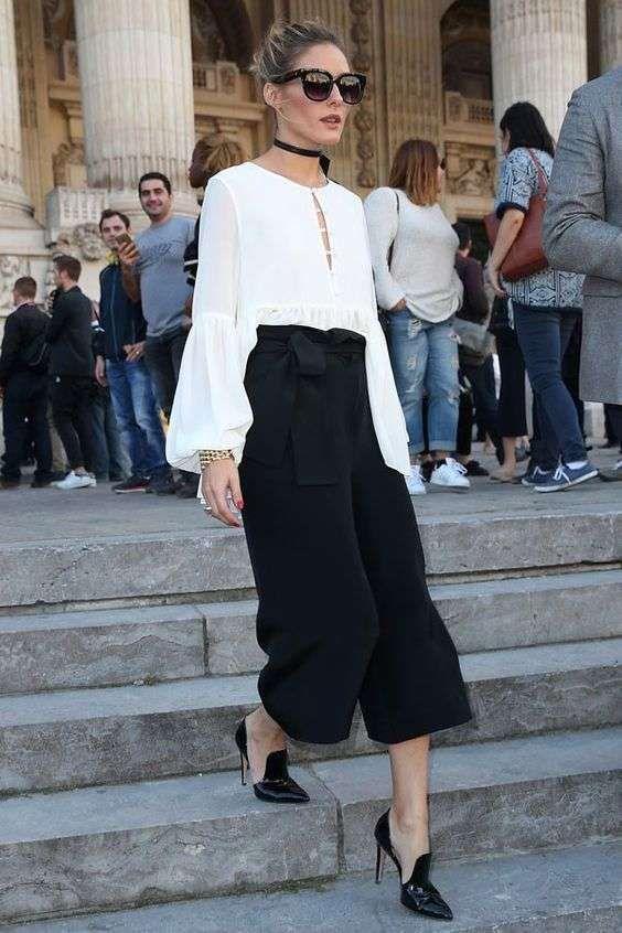 Pantaloni Culotte: outfit da copiare - Olivia Palermo con culotte
