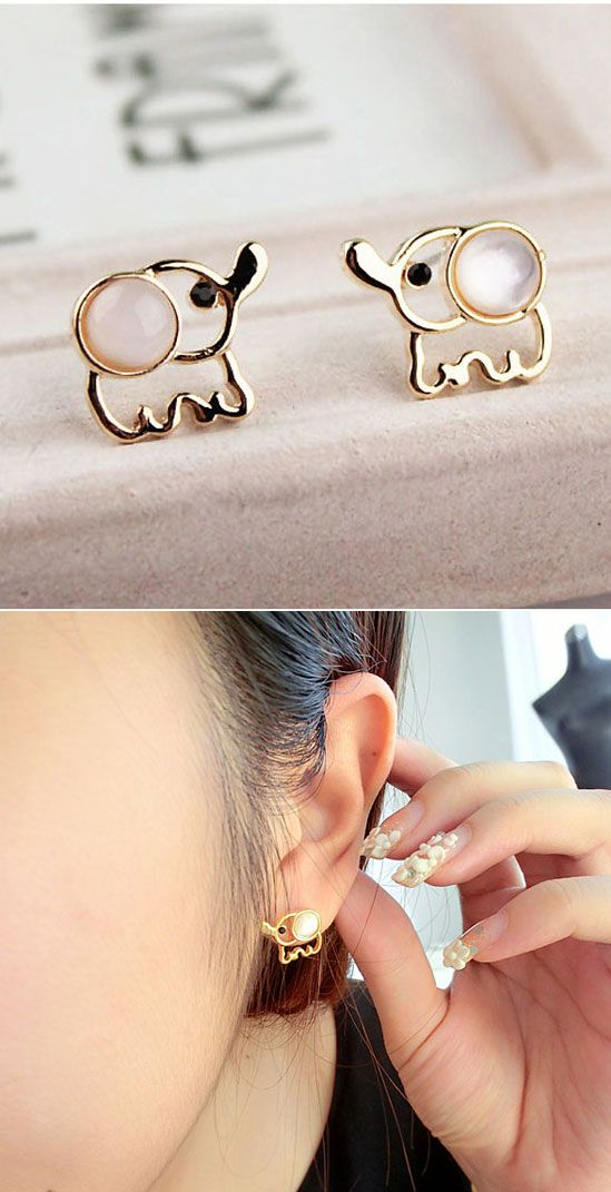 White Opal Lovely Elephant Earrings Studs#elephant #earring #studs