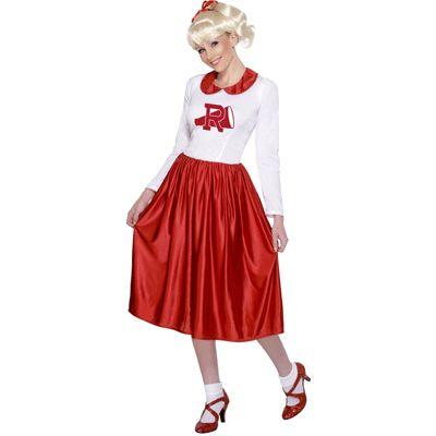 Cheer leader kostuum van Sandy. Dit cheerleader pak van Sandy uit Grease is een jurkje met lange mouwen. Zie voor meer Grease accessoires deze webshop.