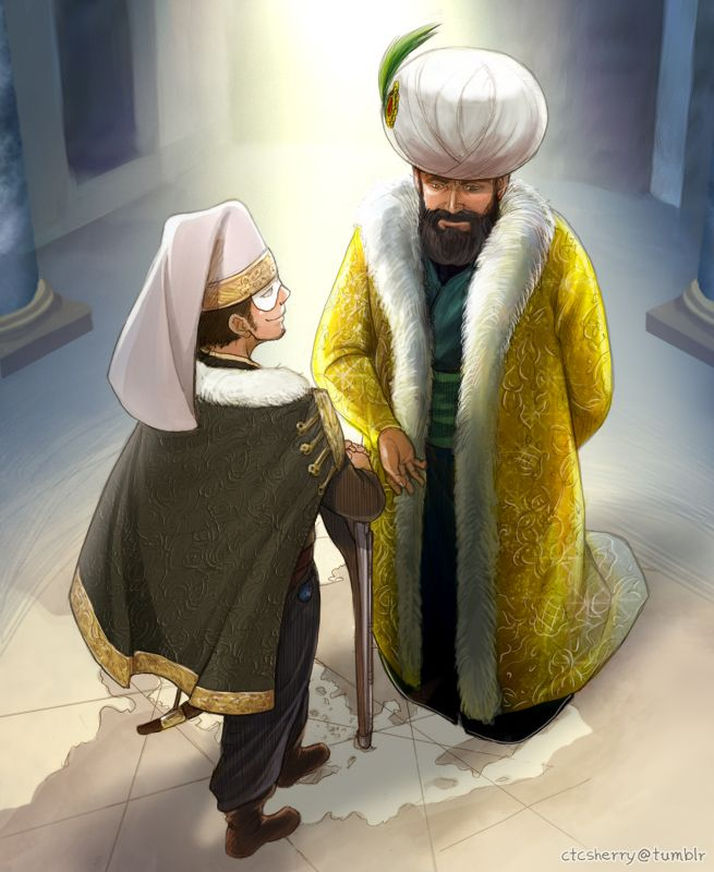 Turkey and Sulieman (?) the Ottoman, another one of these Hetalia Civ V crossover deals.