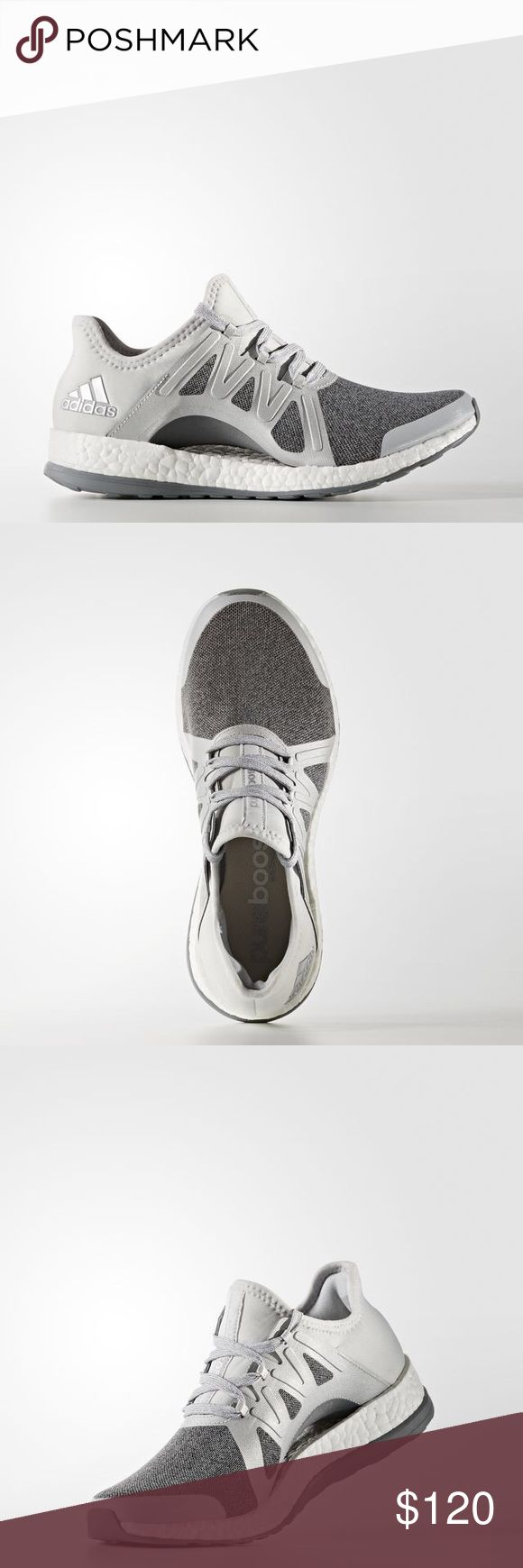 "Adidas PureBoost Xpose Shoes Grey/silver/white colorway in the ever-popular Adidas PureBoost sneaker. From Adidas: ""These women's running shoes combine style and performance for a winning combination. Designed to respond to the ways a woman's foot moves as she runs, the shoe's floating arch hugs and adapts your foot from push-off to footstrike. A mesh upper wraps around and underneath the midfoot for a supportive fit and maximum ventilation."" Adidas Shoes Athletic Shoes"