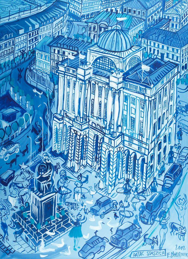 """EDWARD DWURNIK (1943)  PAŁAC STASZICA, 2002   olej, płótno / 99,5 x 73 cm  sygn. p.d. 2002 r./ Pałac Staszica E. Dwurnik Na odwrocie: 2002/ E. DWURNIK/ """"Pałac Staszica""""/ Nr: XI – 290/ 2796."""