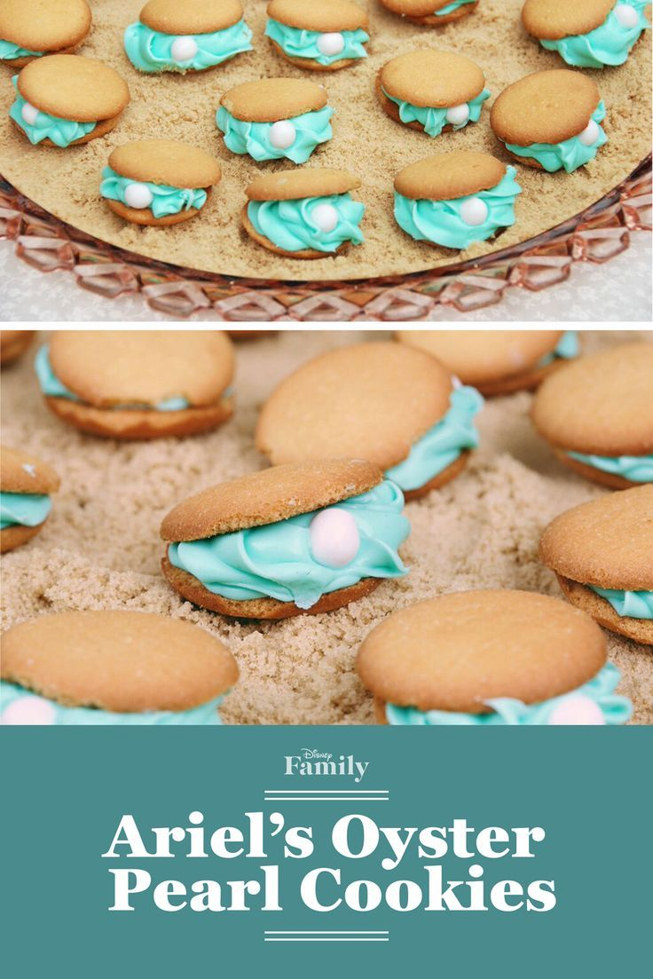 Easy-to-make cookies to create for your Disney Princess Party. Ariel's Oyster Pearl cookies with edible pearls teal frosting and sugar cookies