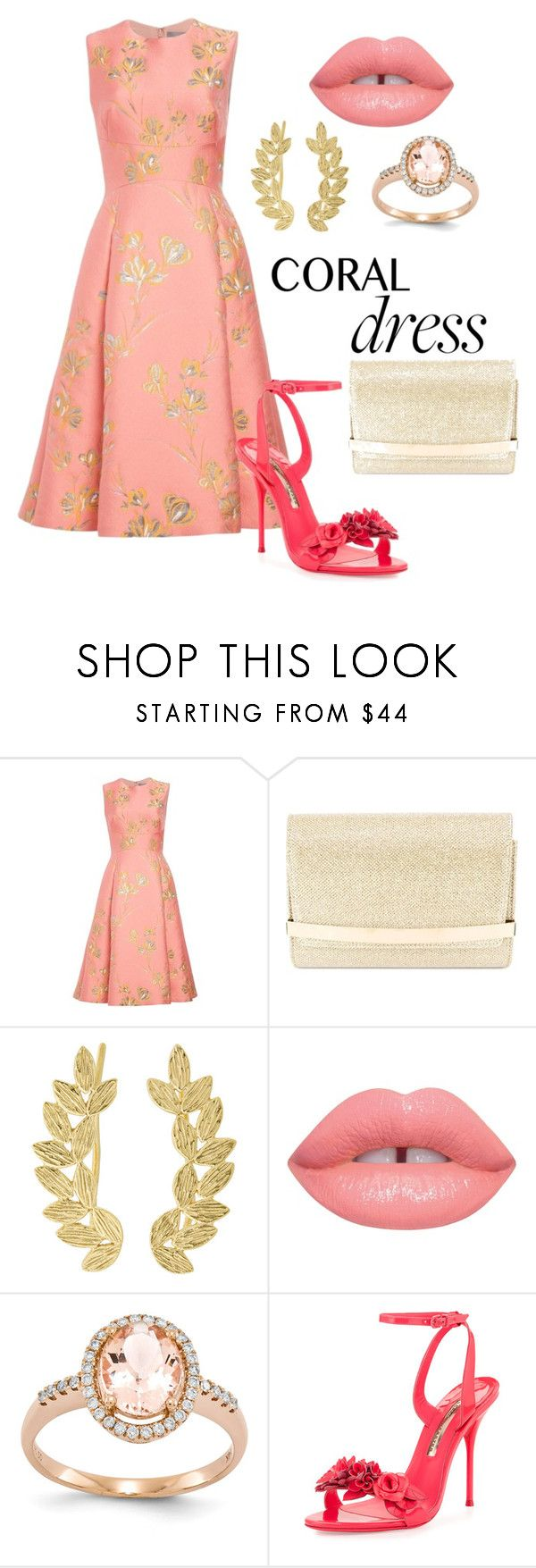 """""""Coral Dress"""" by nataliavillegas ❤ liked on Polyvore featuring Lela Rose, Jimmy Choo, Eddera, Lime Crime, Sophia Webster, gold, coral, dress and LelaRose"""