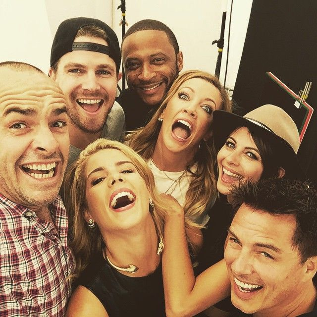 Paul Blackthorne, Stephen Amell, Emily Bett Rickards, David Ramsey, Katie Cassidy, Willa Holland, and John Barrowman