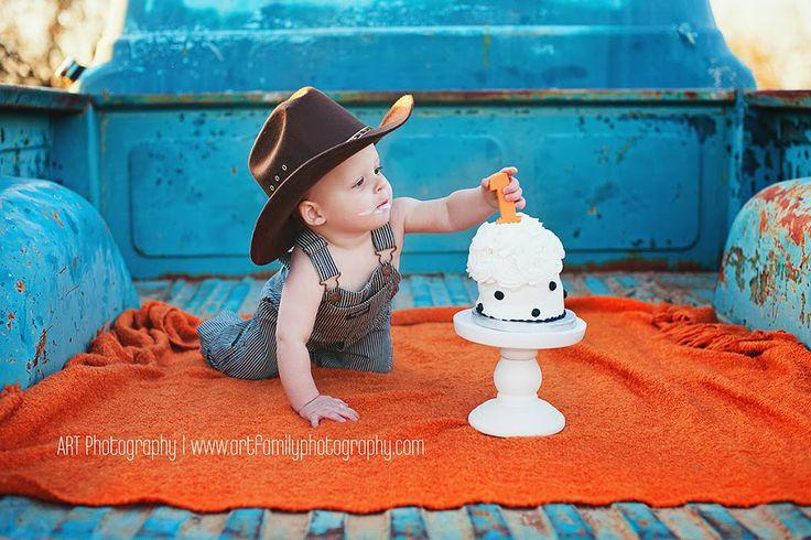 cowboy smash cake. www.artfamilyphotography.com ART Photography - Newborn Baby Family Couples Photographer Phoenix and Surprise AZ